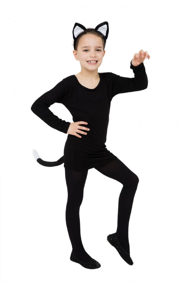 Cat Set Black (Ears + Tail) Fancy Dress-Up-Kit Pet Animal Fancy Dress Outfit